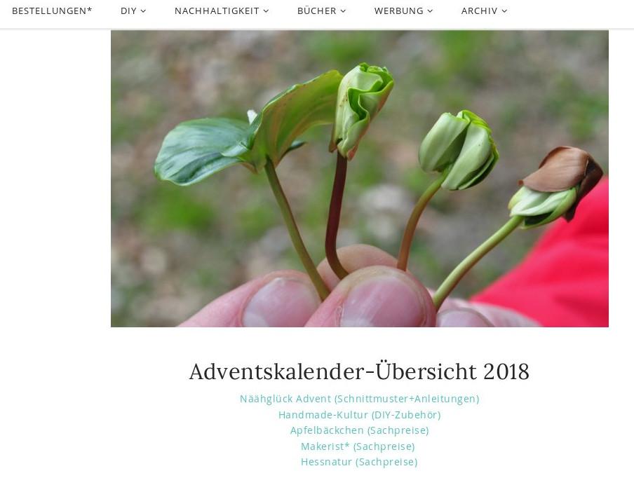 Online Adventskalender DIY und Sachpreise