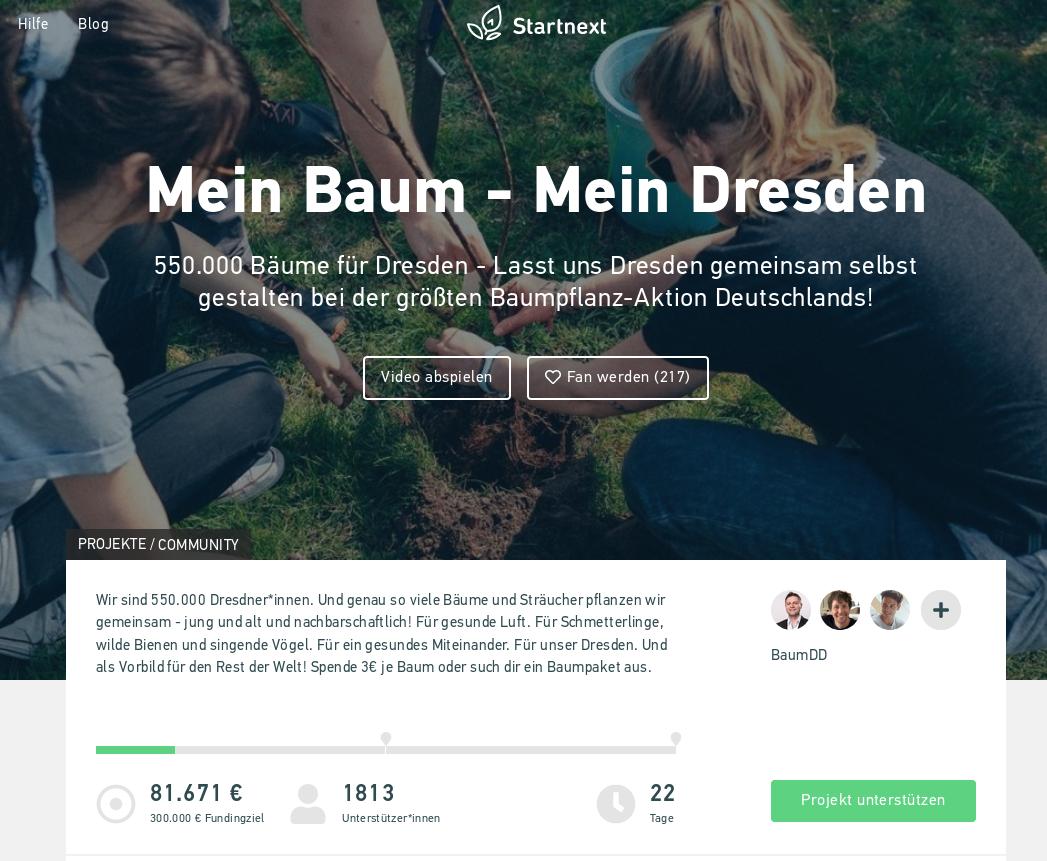 Crowdfunding: Mein Baum – mein Dresden
