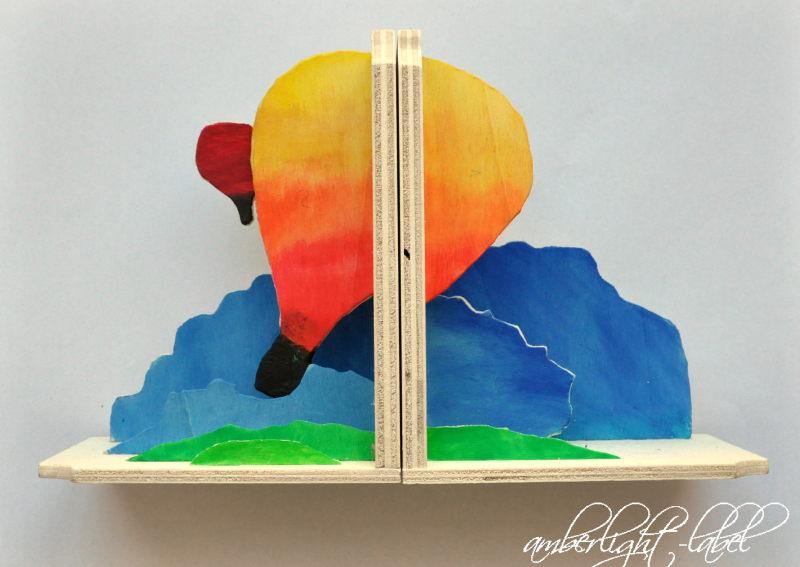 Laubsäge Arbeiten Buchstütze Heißluftballon