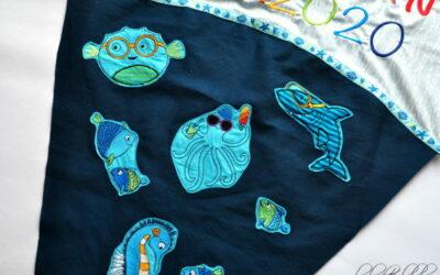 Schuleinführung 2020: Zuckertüte bestickt Schultüte Meerestiere