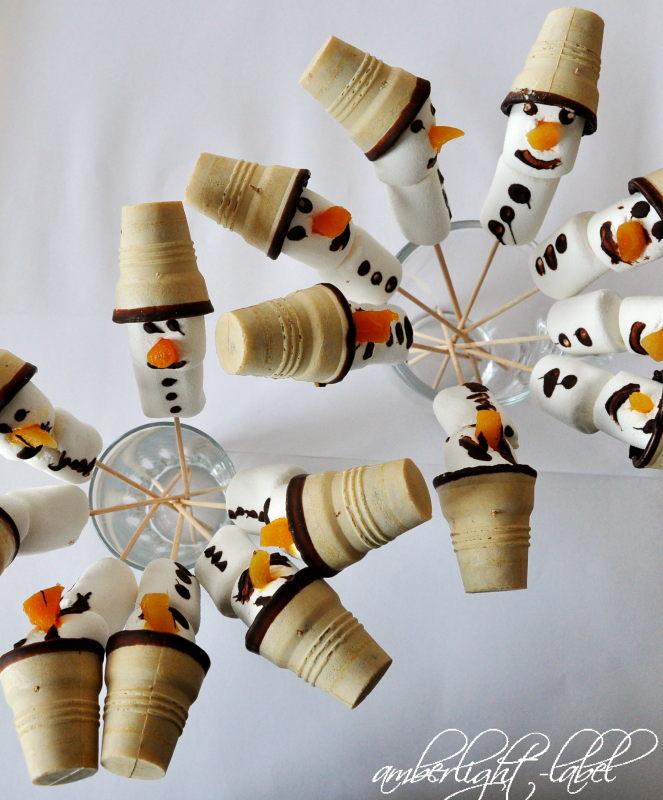 8. Geburtstag: Marshmallow Schneemänner