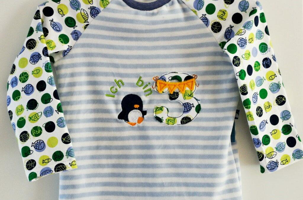 3. Geburtstag: Geburtstagsshirt Pinguin Raglanshirt Gr. 98