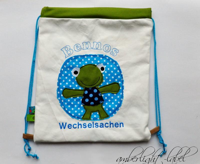 Wechselsachen Beutel Kindergarten Frosch