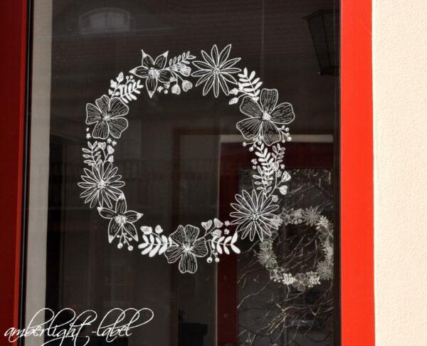 Kreidemarker Fensterbild Blumenkranz von Kallettergrafie