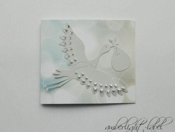 Babykarte mit Storchenmotiv Plotter