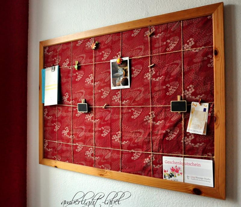 Upcycling: Pinnwand mit Stoff beziehen