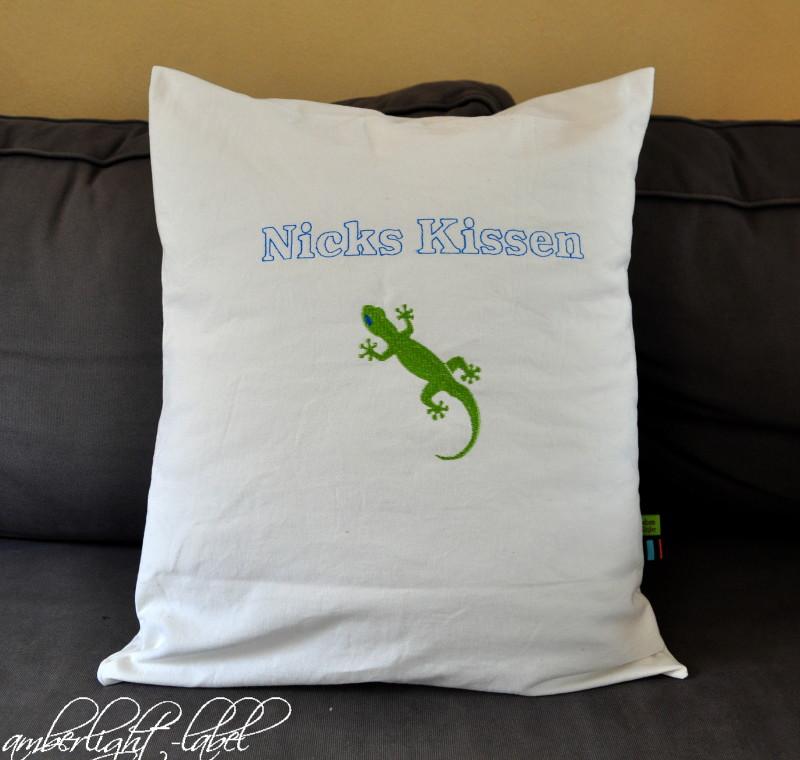Kindergeburtstagsgeschenk Gecko Kissen