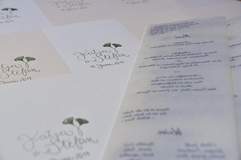 Hochzeit: Menü- und Programmkarten