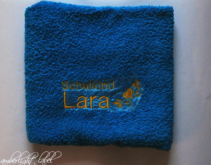 Handtuch besticken Schulkind