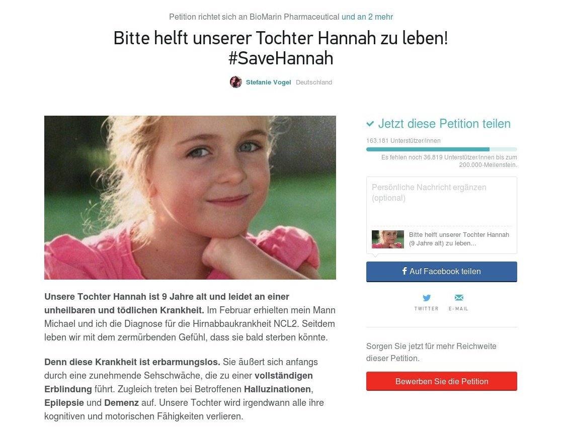 #SaveHannah Petition NCL2 Kinderdemenz