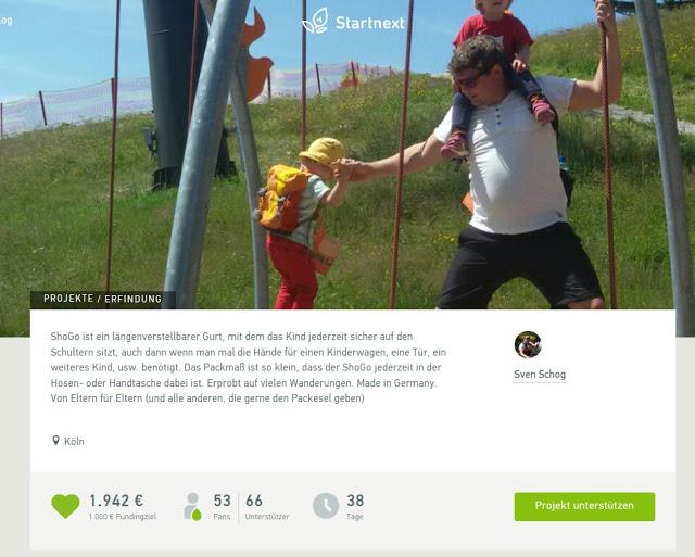 Crowdfunding Blogeinnahmen: ShoGo Huckepackgurt & 6. Hochzeitstag