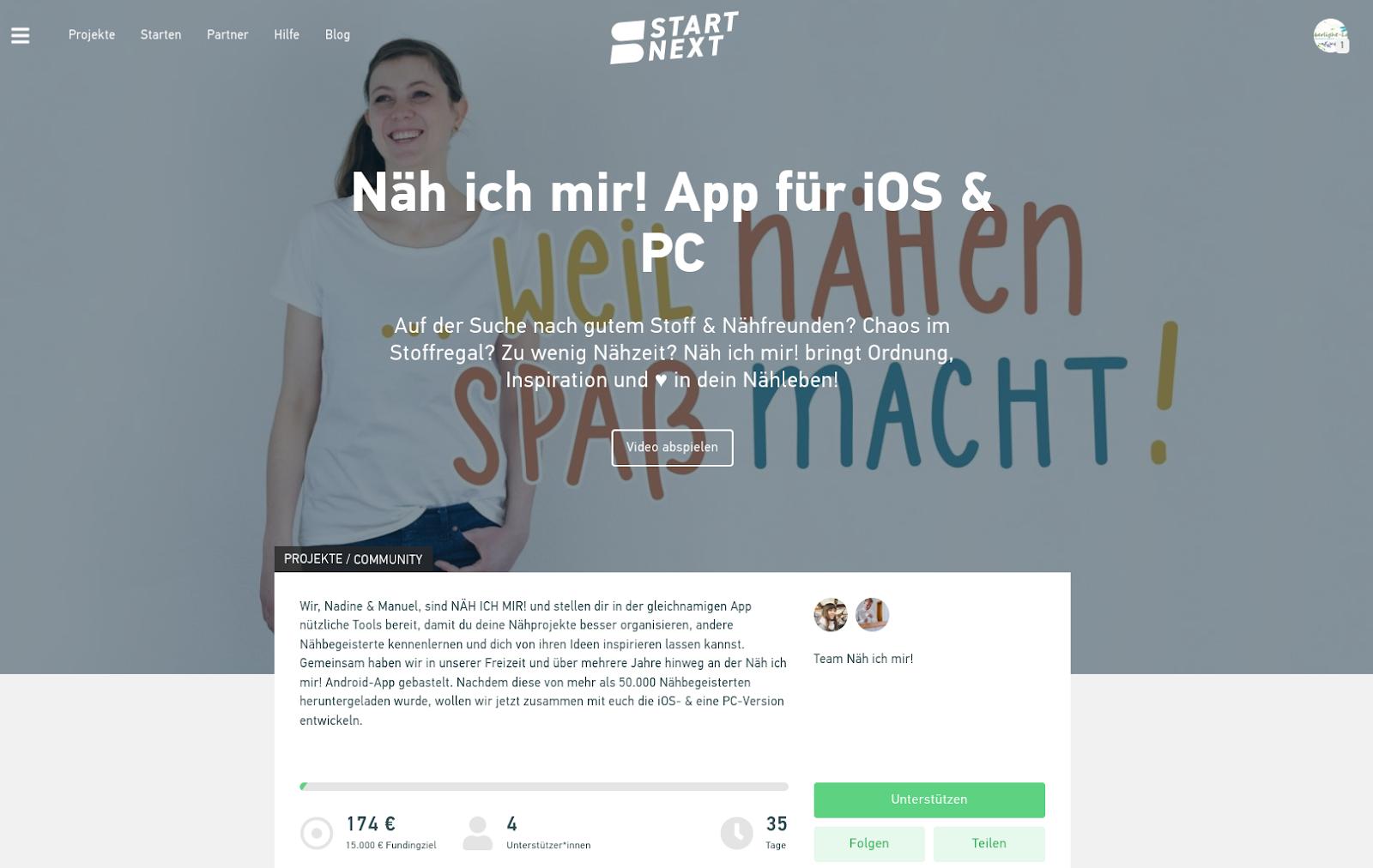 Crowdfunding: Näh ich mir! App