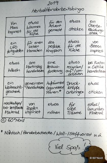 Bingo #HerbstHandarbeitsbingo 2019 von 60°Nord