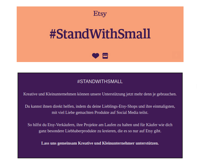 Werbung Etsy #standwithsmall #coronakrise