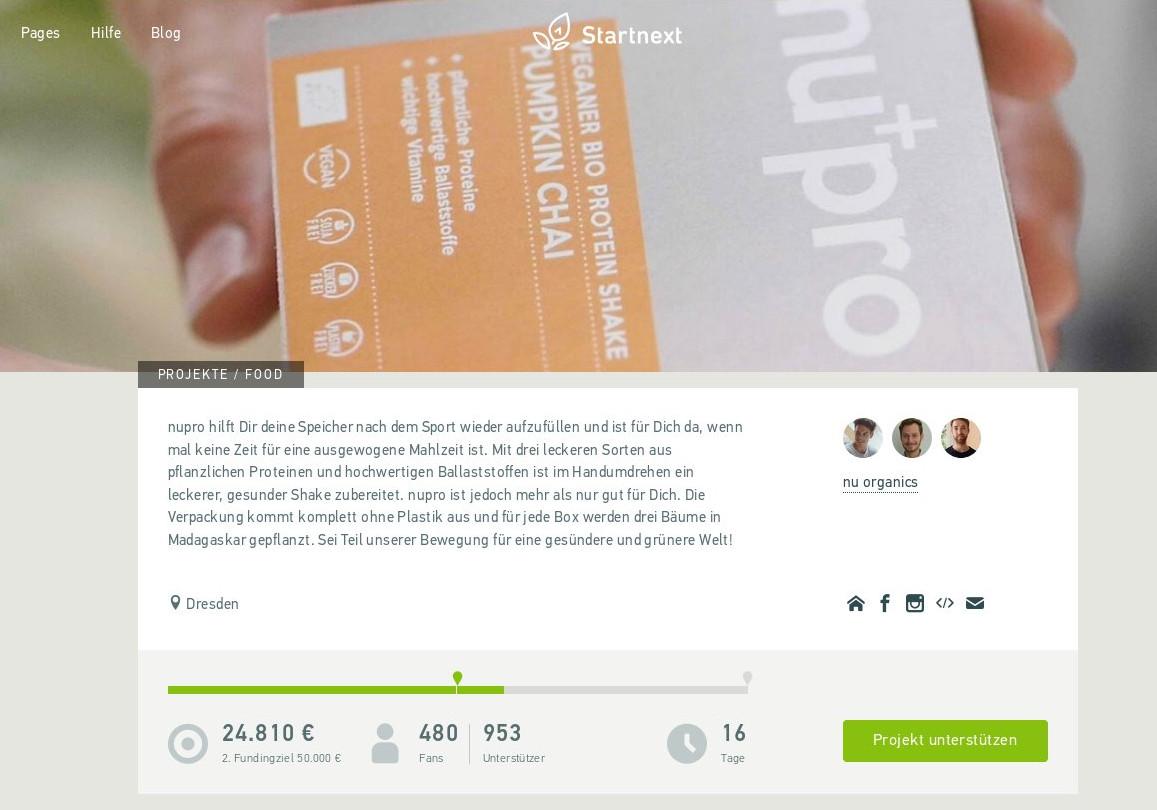 Crowdfunding Nupro – der nachhaltige Proteinshake
