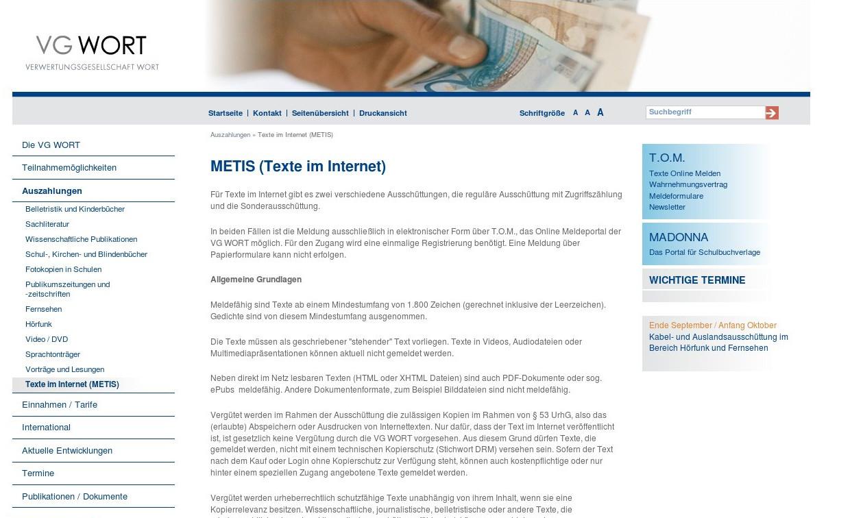 Tantiemen für Blogger – METIS (Texte im Internet) der Verwertungsgesellschaft Wort Blogeinnahmen